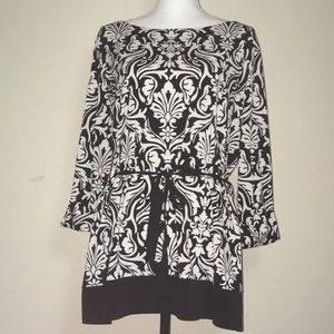 Women's Charter Club Black and White Printed top
